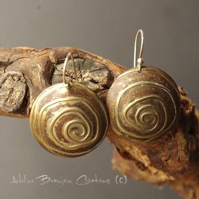 boucles oreilles bijou contemporain femme laiton cuivre
