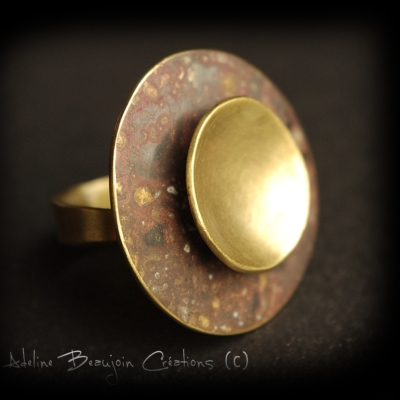 bague laiton patiné artisanale contemporaine femme