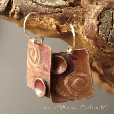 boucles oreilles bijou contemporain argent laiton