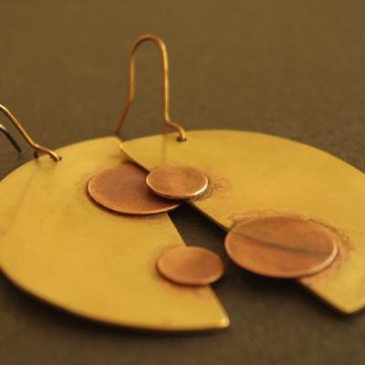 boucles oreilles uniques createur cuivre laiton originales
