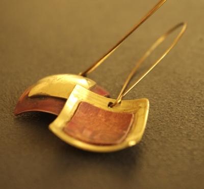 boucles oreilles createur argent unique artisanal cuivre laiton