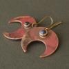 boucles d'oreilles, cuivre, bijou, contemporain, unique
